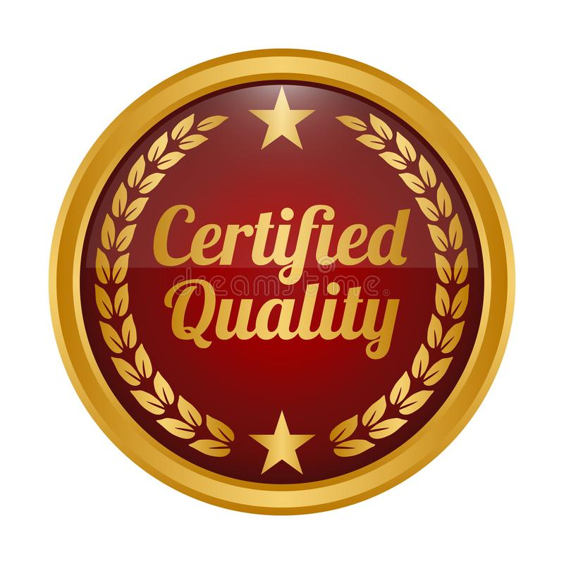 Certified quality badge on white background. royalty free illustration