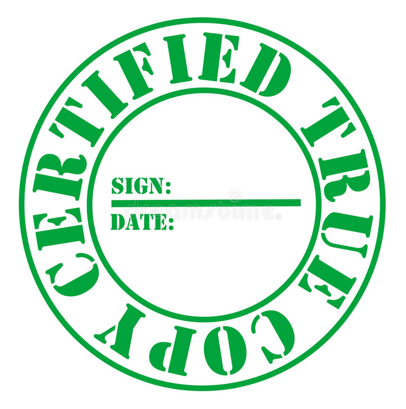 Certified True Copy. For labels copied documents royalty free illustration
