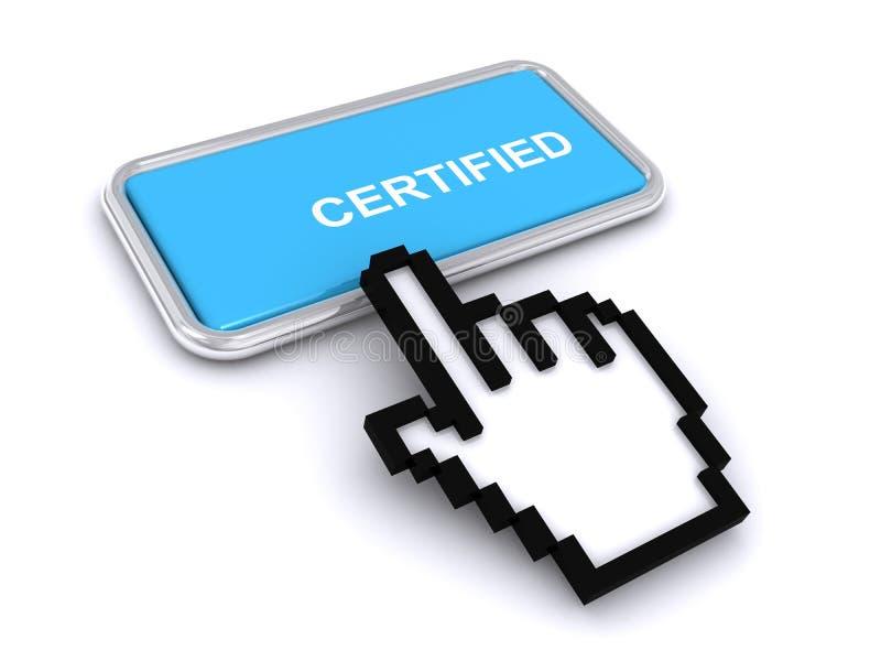 Certifierad knapp vektor illustrationer