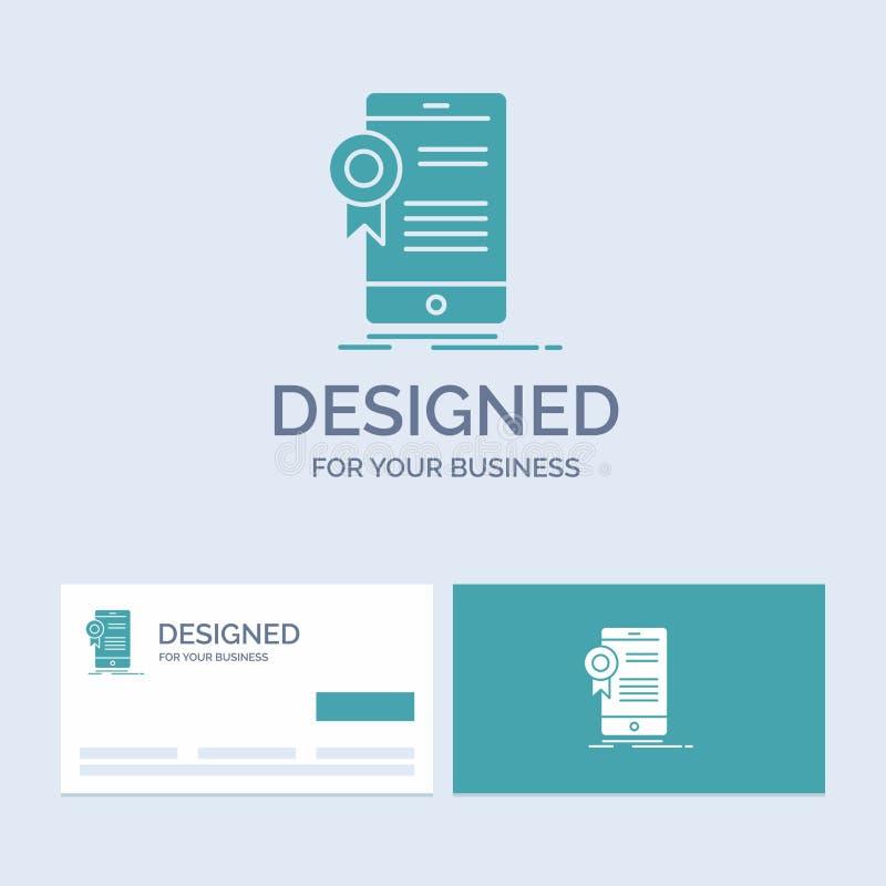 certifikat attestering, App, applikation, godkännandeaffär Logo Glyph Icon Symbol för din affär Turkosaff?rskort royaltyfri illustrationer