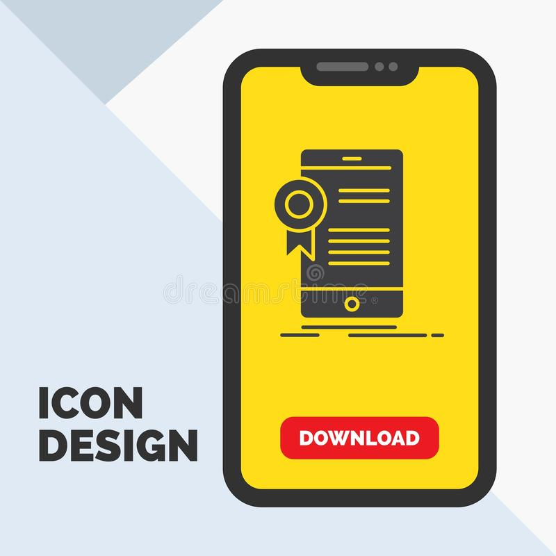 certifikat attestering, App, applikation, godkännandeskårasymbol i mobilen för nedladdningsida Gul bakgrund vektor illustrationer