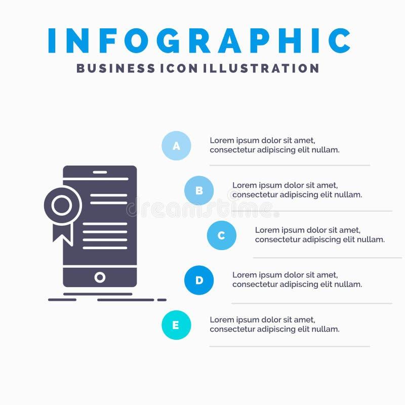 certifikat, attestering, App, applikation, godk?nnandeInfographics mall f?r Website och presentation Gr? symbol f?r sk?ra med stock illustrationer