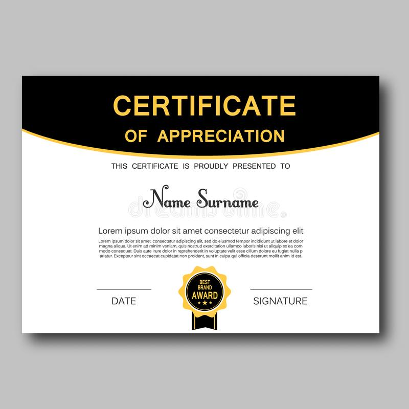 Certifikat av affären för diplom för framgång för moderiktig för geometrisk design för gillandemallvektor prestation för utmärkel vektor illustrationer