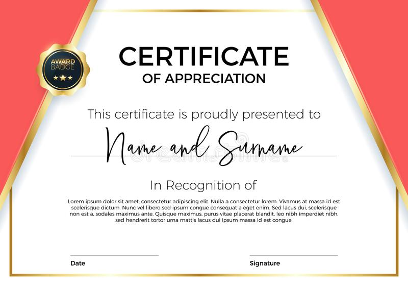 Certifikat av gillande eller prestationen med utmärkelseemblemet Högvärdig vektormall för utmärkelser och diplom royaltyfri illustrationer
