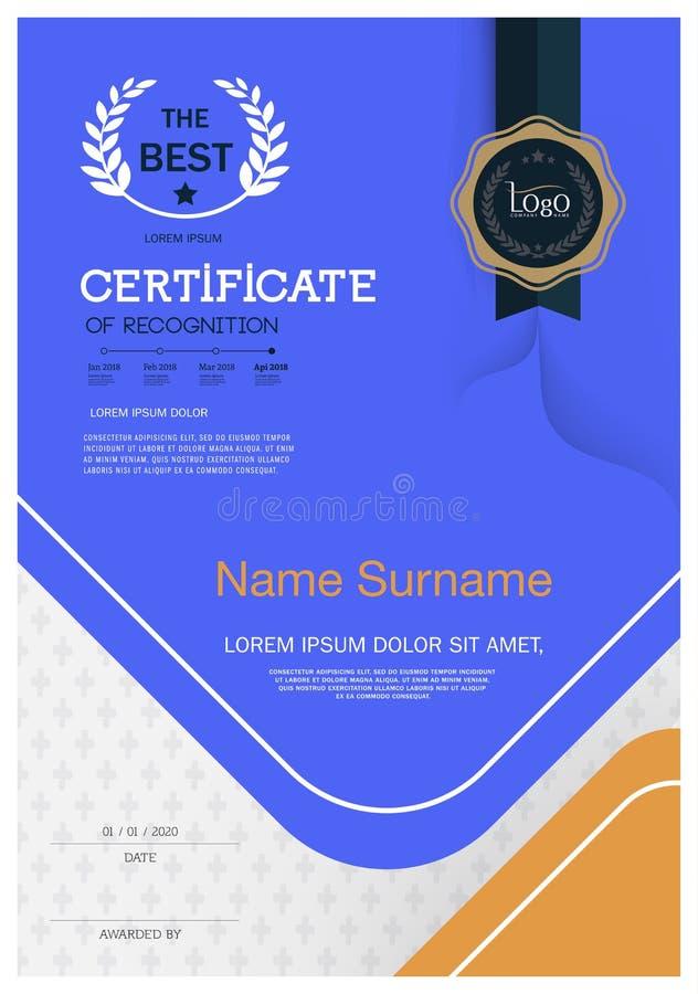 Certifikat av mallen för orientering för mall för prestationramdesign i formatet A4 vektor illustrationer