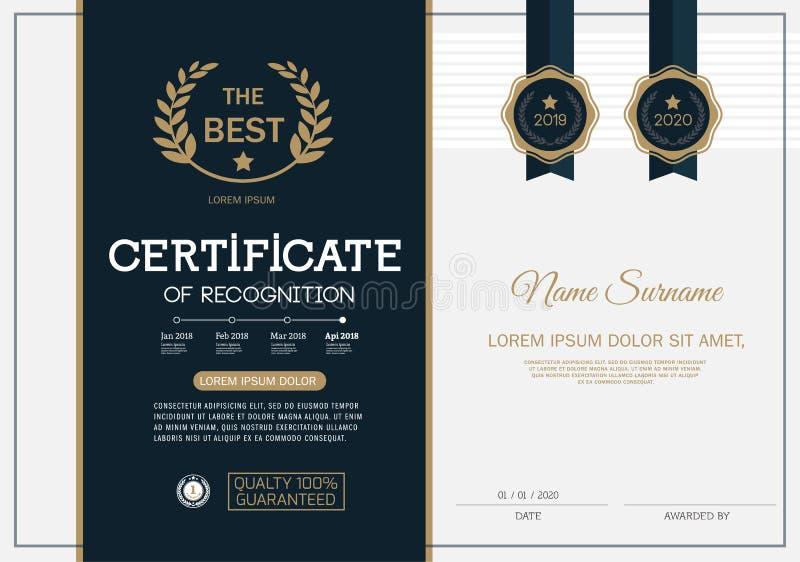 Certifikat av mallen för orientering för mall för prestationramdesign i formatet A4 royaltyfri illustrationer