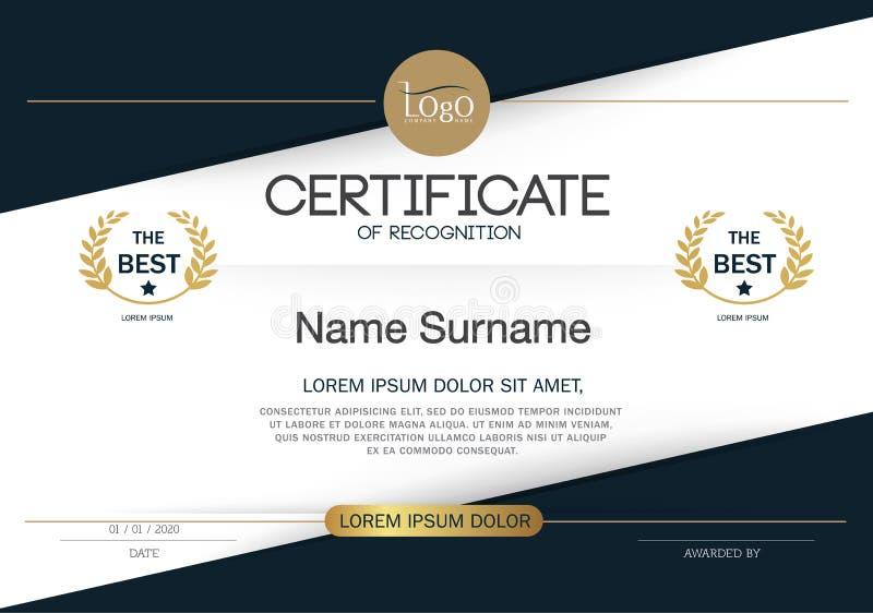 Certifikat av mallen för orientering för mall för prestationramdesign i formatet A4 stock illustrationer