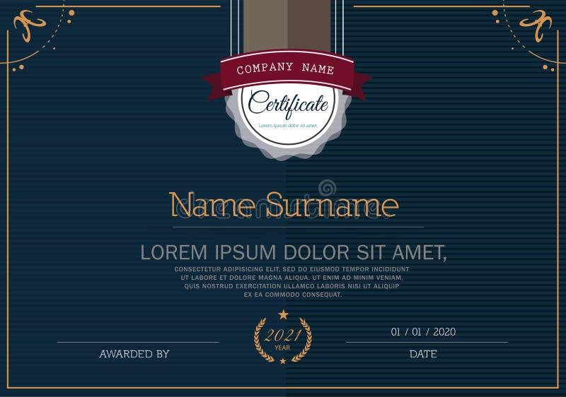 Certifikat av mallen för prestationramdesign royaltyfri illustrationer