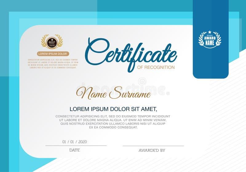 Certifikat av mallen för prestationramdesign, blått royaltyfri illustrationer