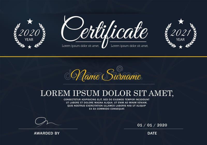 Certifikat av mallen för prestationramdesign som är blåvitt royaltyfri illustrationer