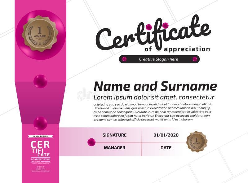 Certifikat av mallen f?r orientering f?r mall f?r prestationramdesign i formatet A4 vektor illustrationer