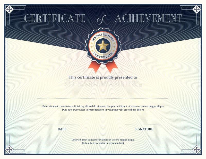 Certifikat av prestationdesignmallen royaltyfri illustrationer