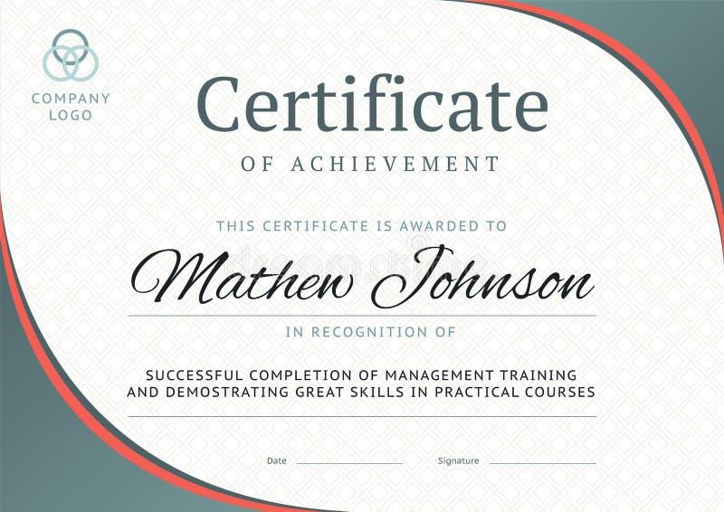 Certifikat av prestationmalldesignen Affärsdiplom stock illustrationer