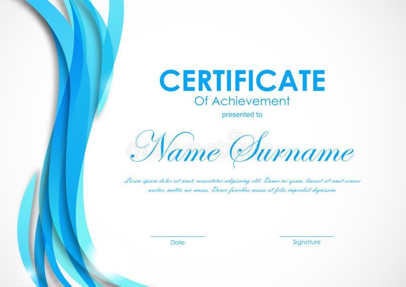 Certifikat av prestationmallen royaltyfri illustrationer