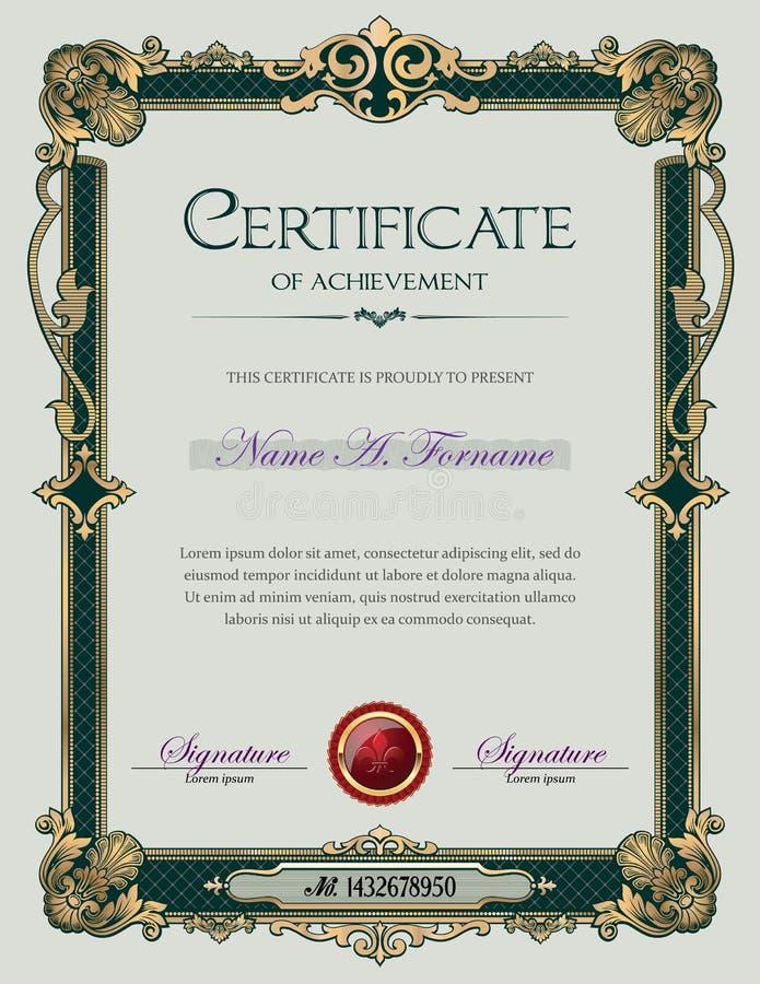Certifikat av prestationståenden med den antika tappningprydnadramen vektor illustrationer