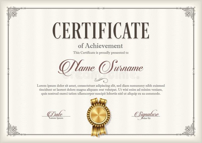 Certifikat av prestationtappningramen royaltyfri illustrationer