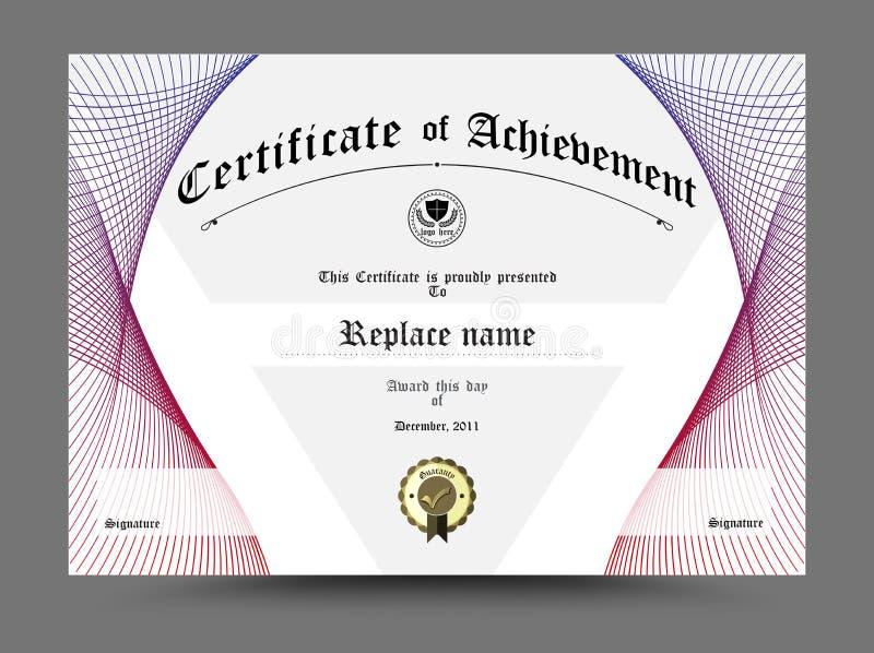 Certifikat diplom av avslutning, certifikat av prestation D royaltyfri illustrationer