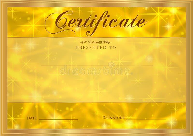 Certifikat diplom av avslutning med abstrakt guld- bakgrund som mousserar blinka stjärnor Kosmisk skinande galax (atmosfär) royaltyfri illustrationer