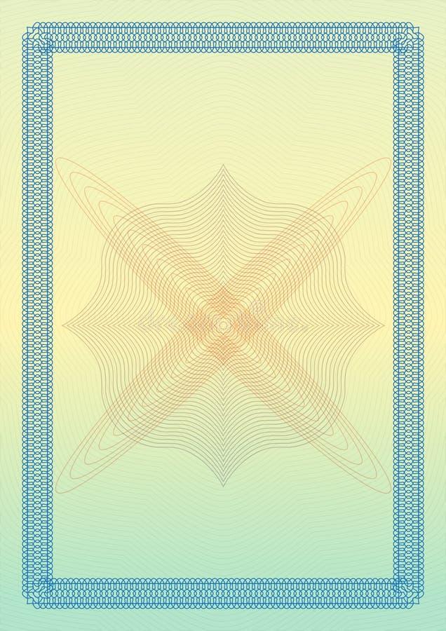 Certifikat-, diplom- eller kupongmall med den dekorativa gränsen också vektor för coreldrawillustration royaltyfri illustrationer
