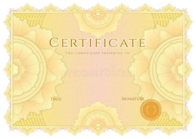 Certifikat-/diplombakgrund. Gul gräns stock illustrationer