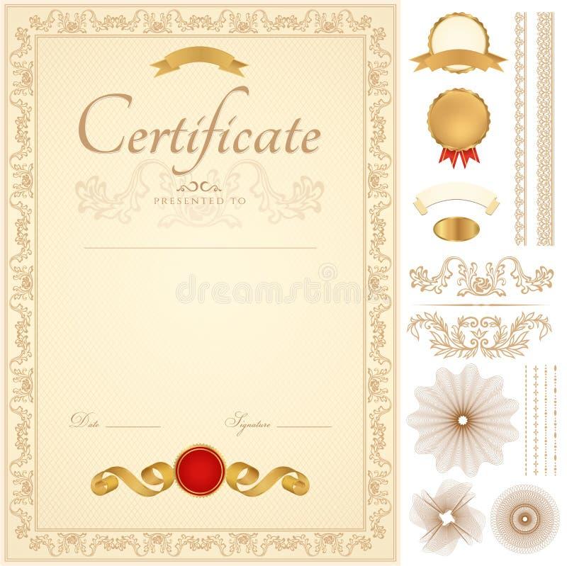 Certifikat-/diplombakgrund. Guld- gräns royaltyfri illustrationer