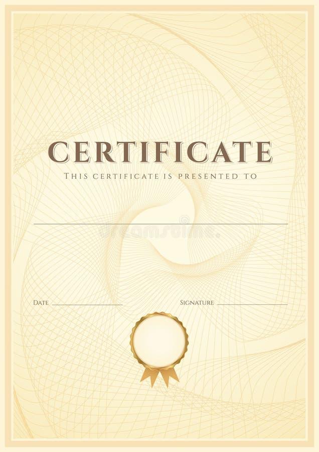 Certifikat-/diplombakgrundsmall. Modell vektor illustrationer