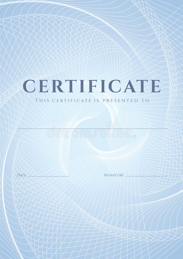 Certifikat diplommall. Guillochemodell stock illustrationer