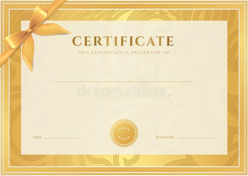 Certifikat diplommall. Guld- utmärkelsemodell vektor illustrationer