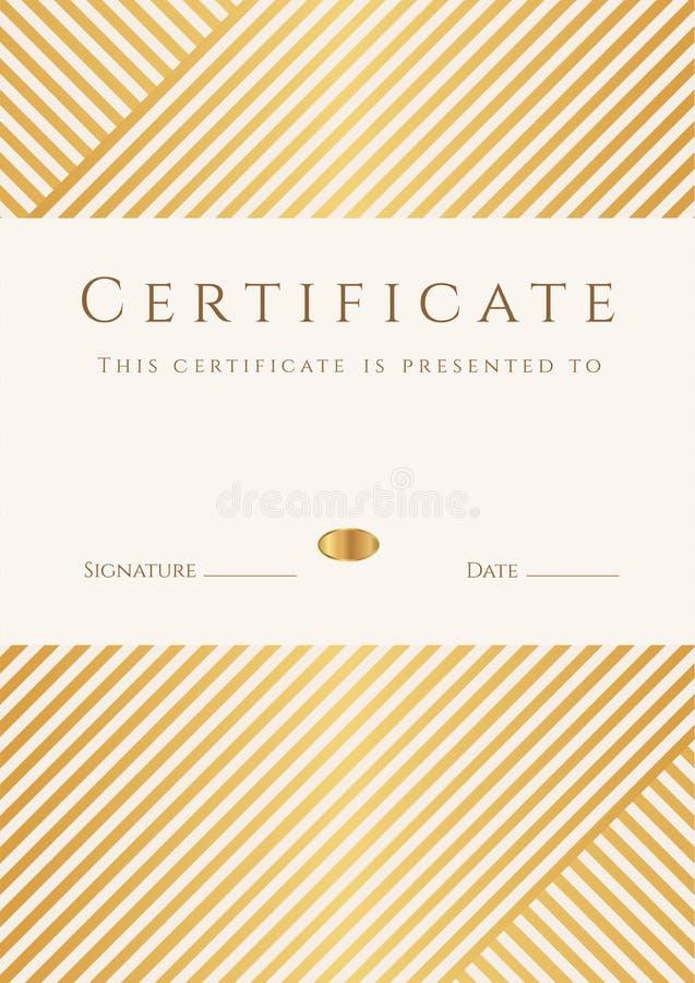 Certifikat diplommall. Guld- utmärkelsemodell royaltyfri illustrationer