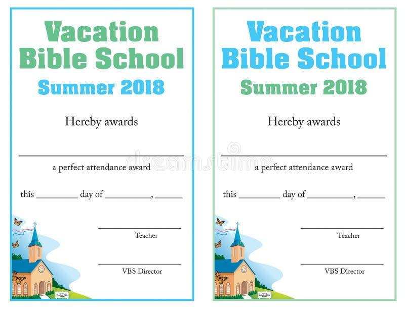 Certifikat för bibelskolauppslutning stock illustrationer