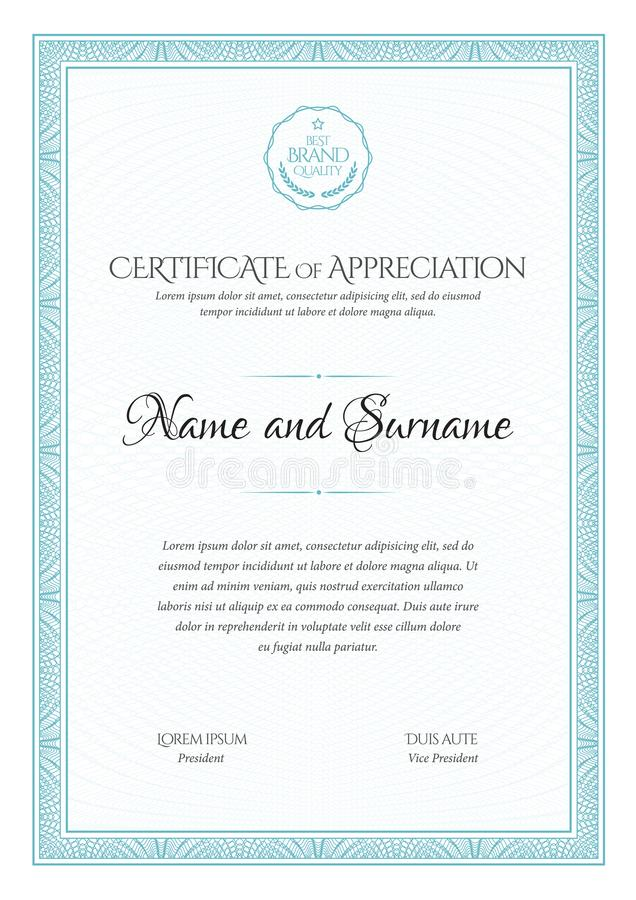 certifikat Gräns för malldiplomvaluta Utmärkelsebakgrundspresentkort stock illustrationer