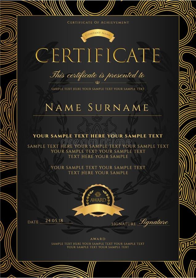 Certifikat guld- designmall för diplom, färgrik bakgrund med blom-, filigranmodell, snirkelgräns, guld- ram stock illustrationer