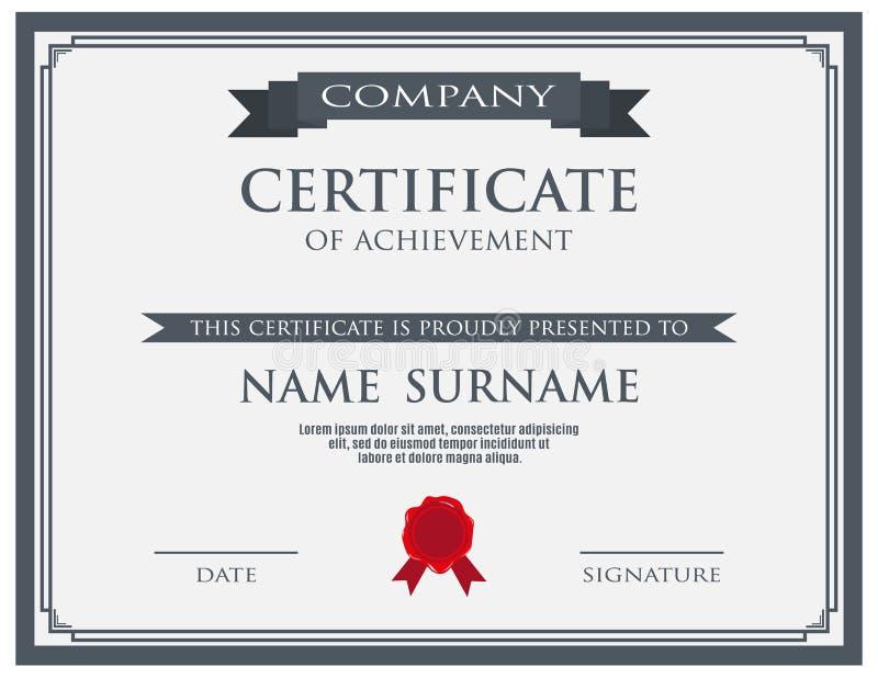 Certifikat med vaxskyddsremsamallen stock illustrationer