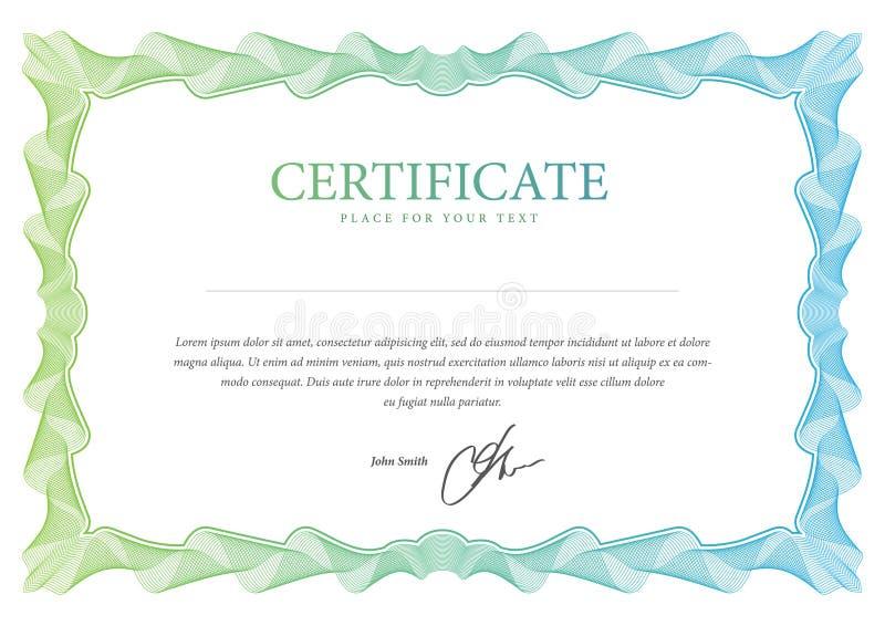 Certifikat. Vektormall royaltyfri illustrationer