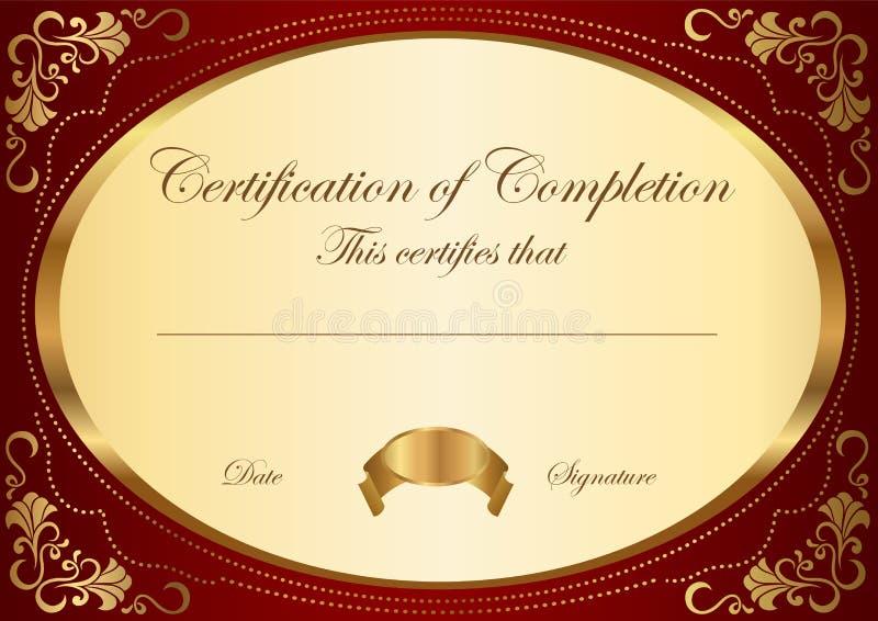 certifikatavslutningsmall royaltyfri illustrationer