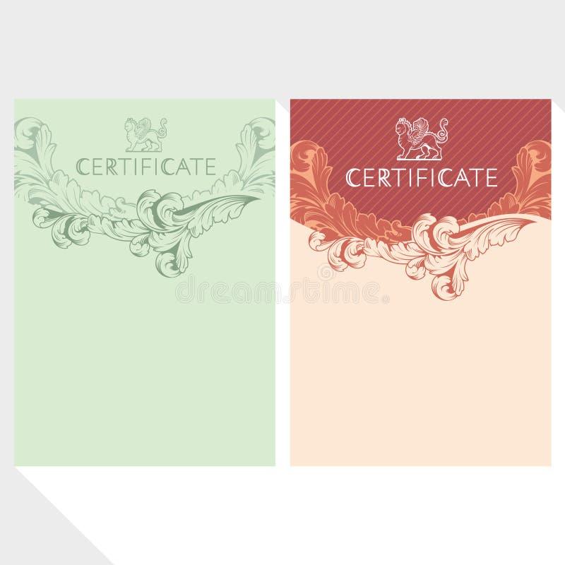 Certifikatdesignmall vektor illustrationer