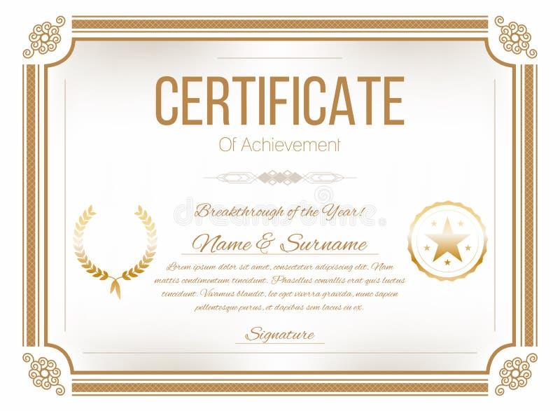 Certifikatdesignmall Retro certifikat, diplomdesignmall stock illustrationer