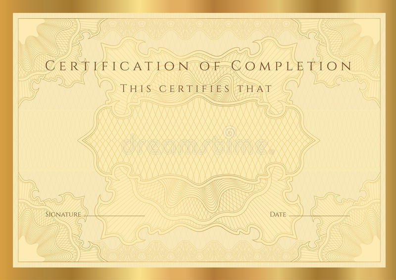 Certifikatdiplom av avslutning (mallen) stock illustrationer