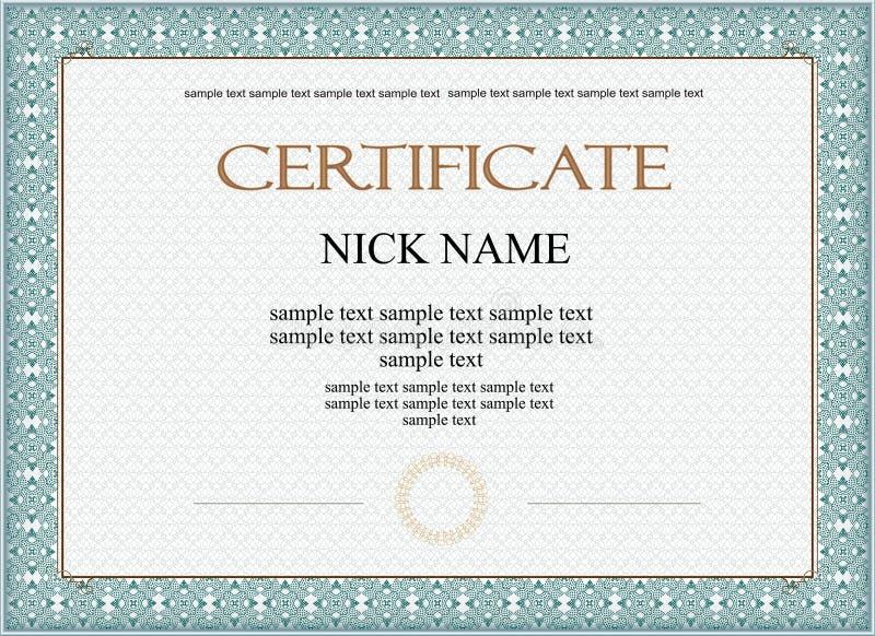Certifikatdiplom för tryck royaltyfri illustrationer