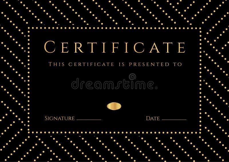 Certifikatet diplom av avslutning med svart bakgrund, guld- elemets mönstrar, gränsar, den guld- ramen Certifikat av prestationen stock illustrationer