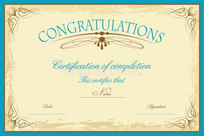 certifikatmall royaltyfri illustrationer