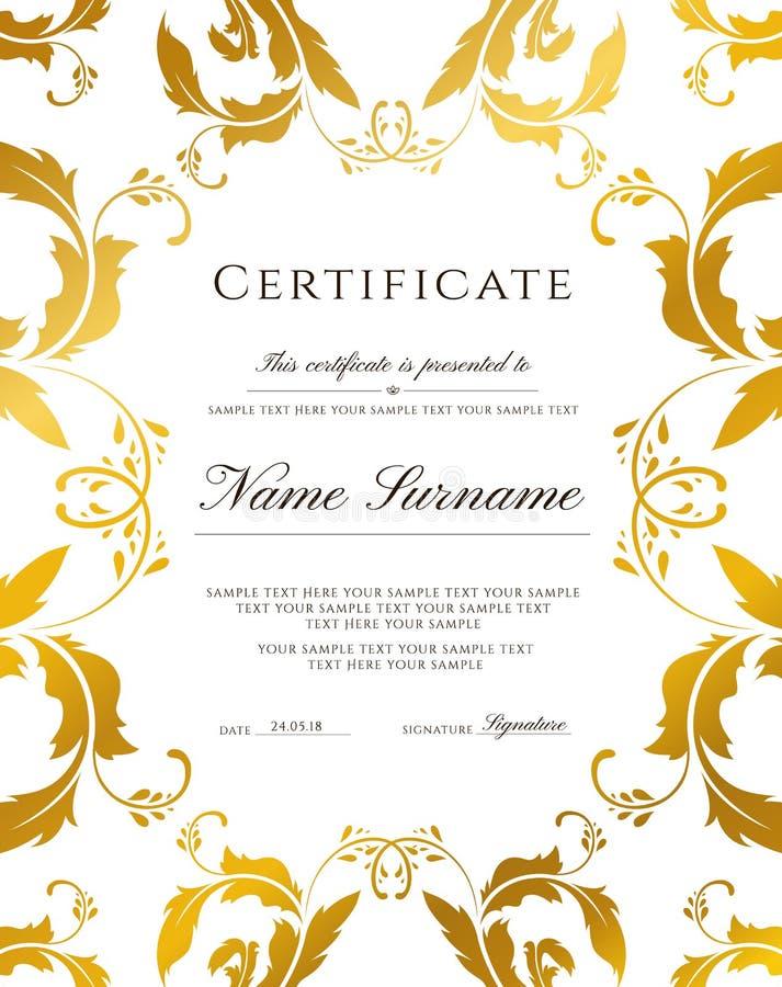 Certifikatmall, guld- gräns Redigerbar design för diplomet, certifikat av gillande stock illustrationer