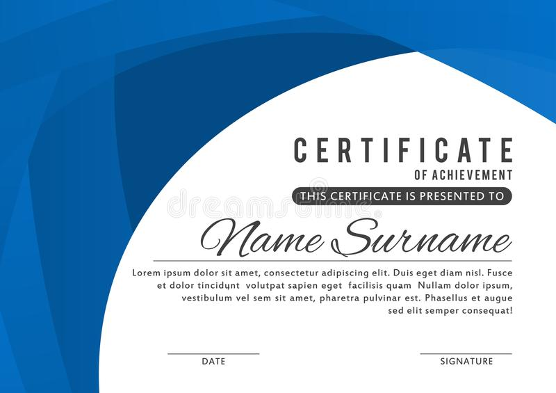 Certifikatmall i elegant blåttfärg med abstrakt begreppgränser, ramar Certifikat av gillande, templa för utmärkelsediplomdesign stock illustrationer