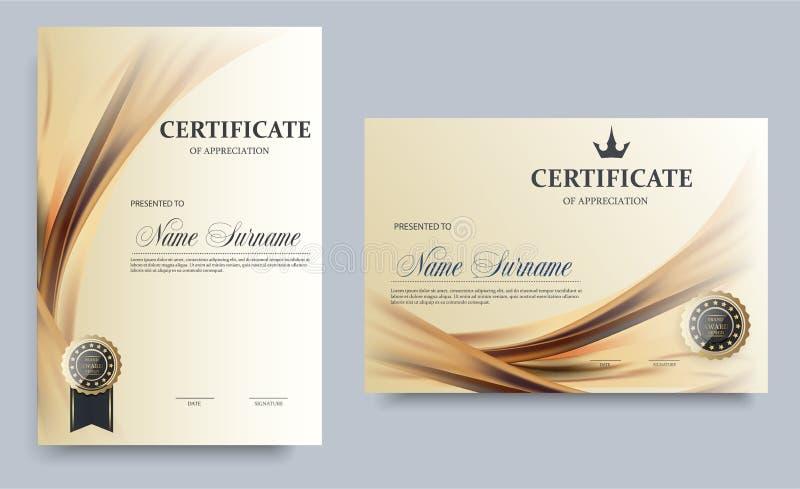 Certifikatmall i vektorn för prestationavläggande av examenavslutning - materielvektor royaltyfri illustrationer