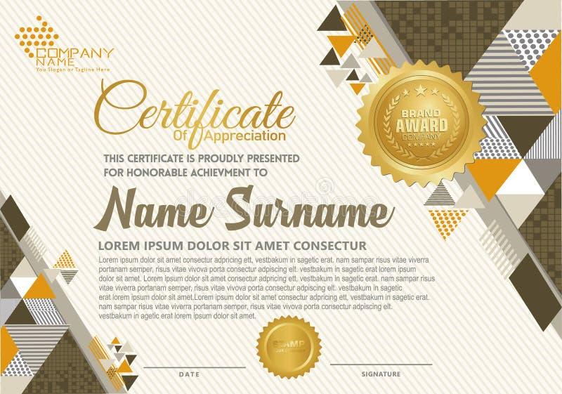 Certifikatmall med den polygonal elegant och modern modellen för stil, royaltyfri illustrationer
