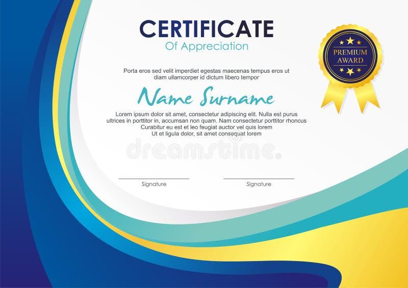Certifikatmall med stilfull vågdesign stock illustrationer