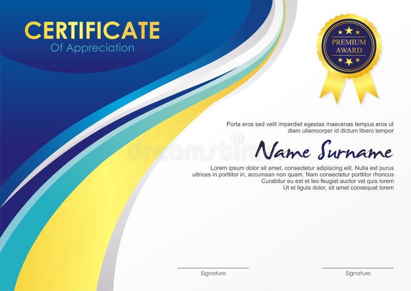 Certifikatmall med stilfull vågdesign royaltyfri illustrationer