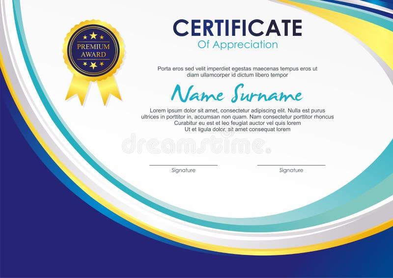 Certifikatmall med stilfull vågdesign vektor illustrationer