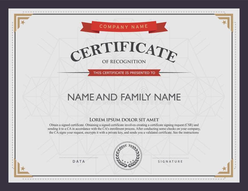 Certifikatmall och beståndsdel royaltyfri illustrationer