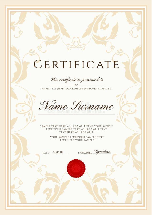 Certifikatmall, ramgräns Planlägg för diplomet, certifikatet av gillande, certifikat av prestationen stock illustrationer